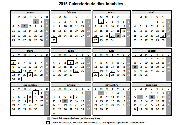 calendario dia inhabiles Infonalia